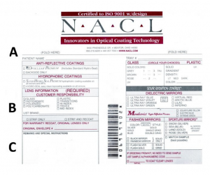 NACL RX optical order envelope front side