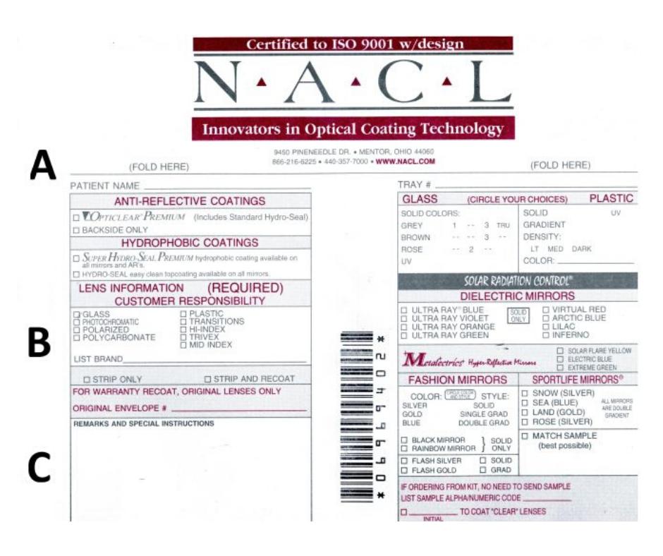 NACL RX optical order envelope front side