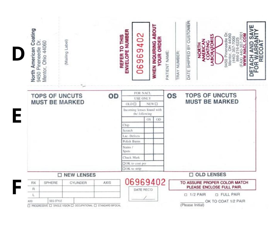 NACL RX optical order envelope back side